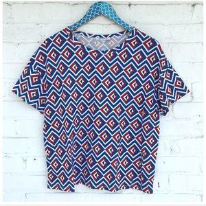 Zara Trafaluc Colorful Geometric Pattern Boxy Top